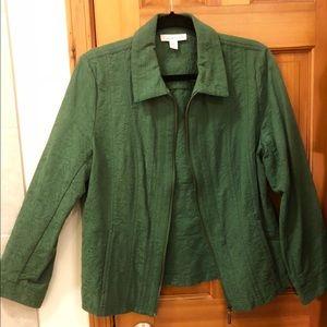 Coldwater Creek Cotton Green zippered jacket Sz 12